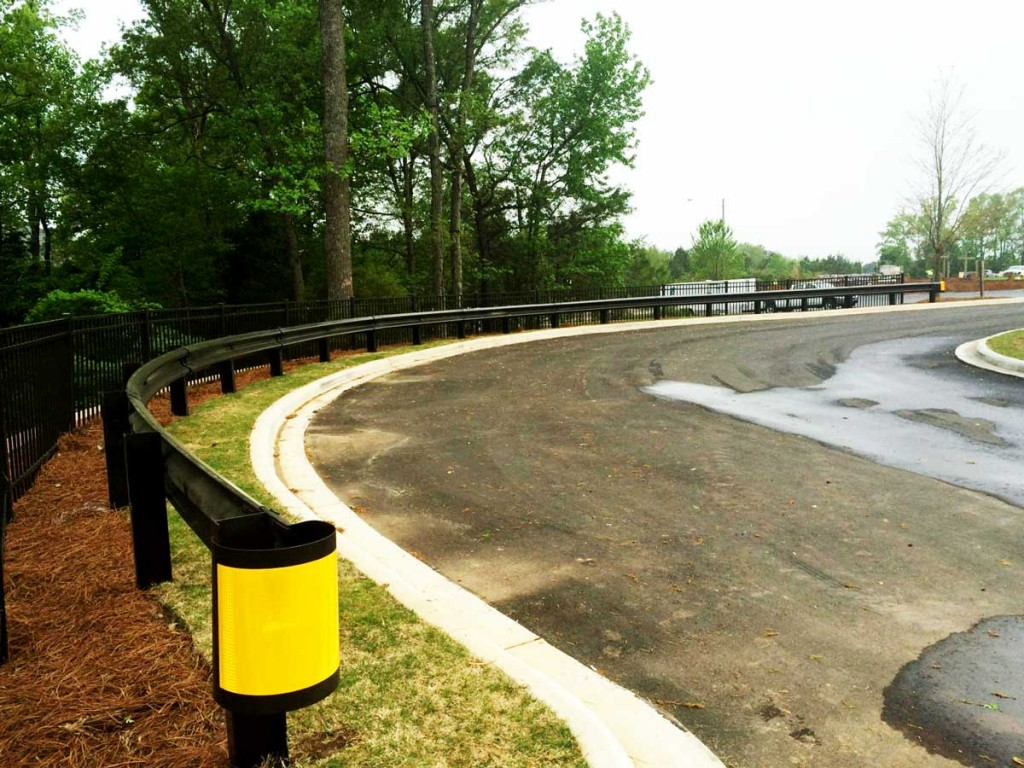 Curved W Beam Guardrail Installation